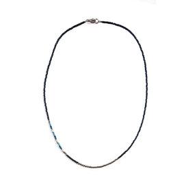 Sarah Crawford Handcrafted Sarah Crawford Beaded Necklace - Daytrip Custom - Asymmetric Dark Harbor - Silver Glass Beads
