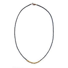 Sarah Crawford Handcrafted Sarah Crawford Beaded Necklace - Iris - Gold Nuggets