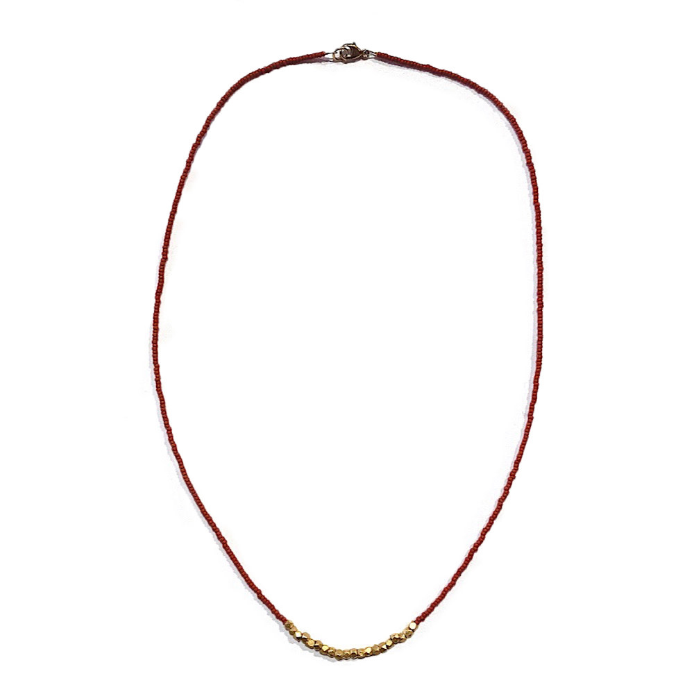 Sarah Crawford Beaded Necklace - Chestnut - Gold Nuggets