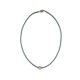 Sarah Crawford Handcrafted Sarah Crawford Beaded Necklace - Eucalyptus and Coral Cream - Rose Gold Circle