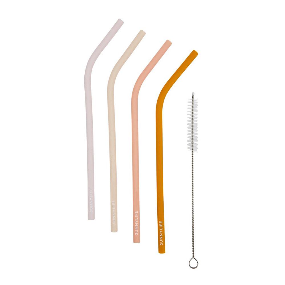 Sunnylife Sunnylife Reusable Silicone Straws - Set of 4