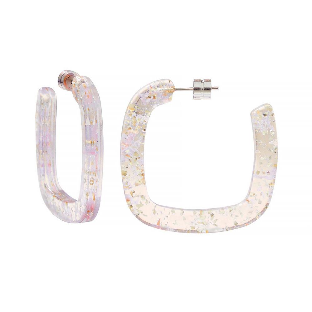 Machete - Midi Square Hoop Earrings - Glitter