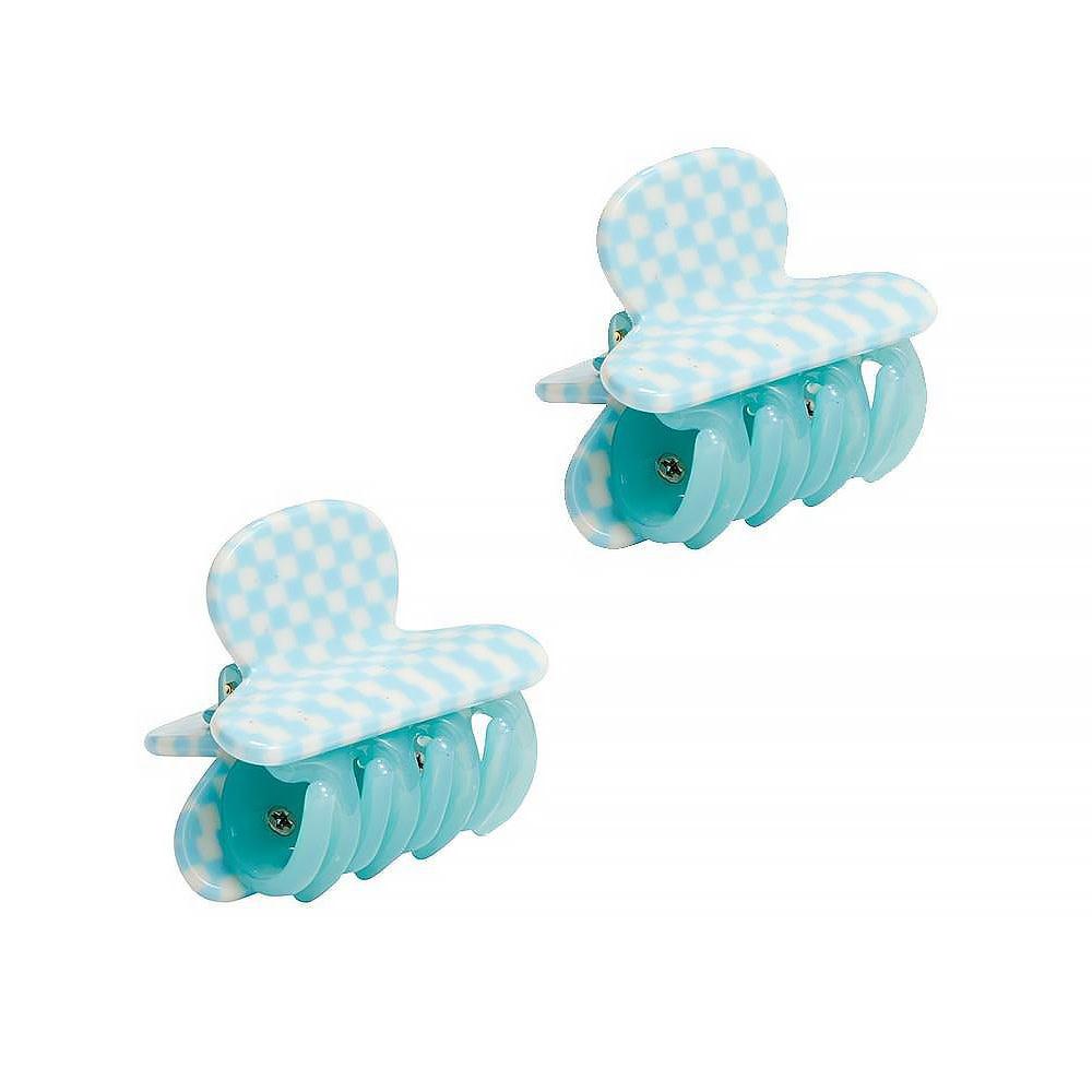 Machete - Twin Heirloom Claw Hair Clips - Blue Checker