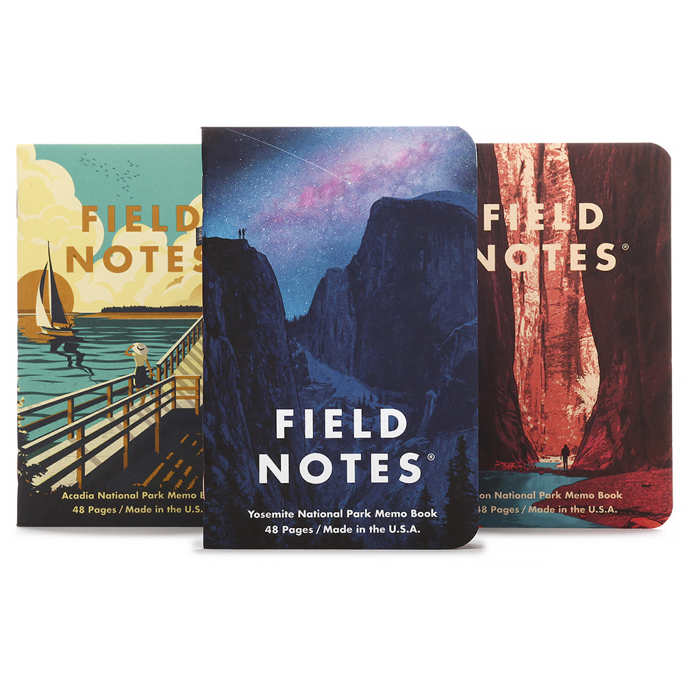 Field Notes - National Parks 3 Pack - Yosemite, Acadia, Zion