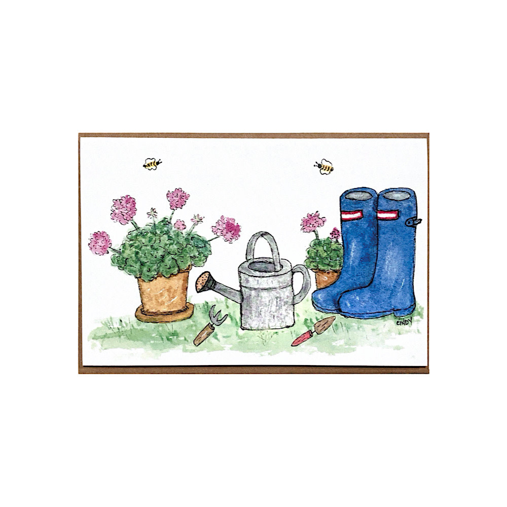 Cindy Shaughnessy Greeting Card - Wellies & Watering Cans