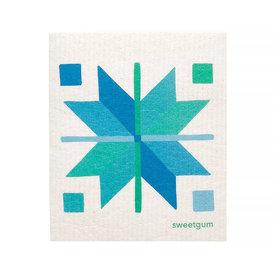 Sweetgum Textiles Co. Sweetgum Textiles Dishcloth - Blue Quilt on White