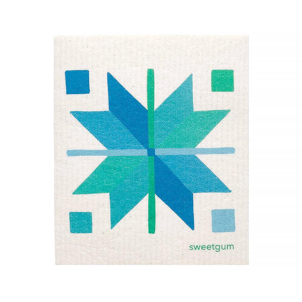 Sweetgum Textiles Dishcloth - Blue Quilt on White