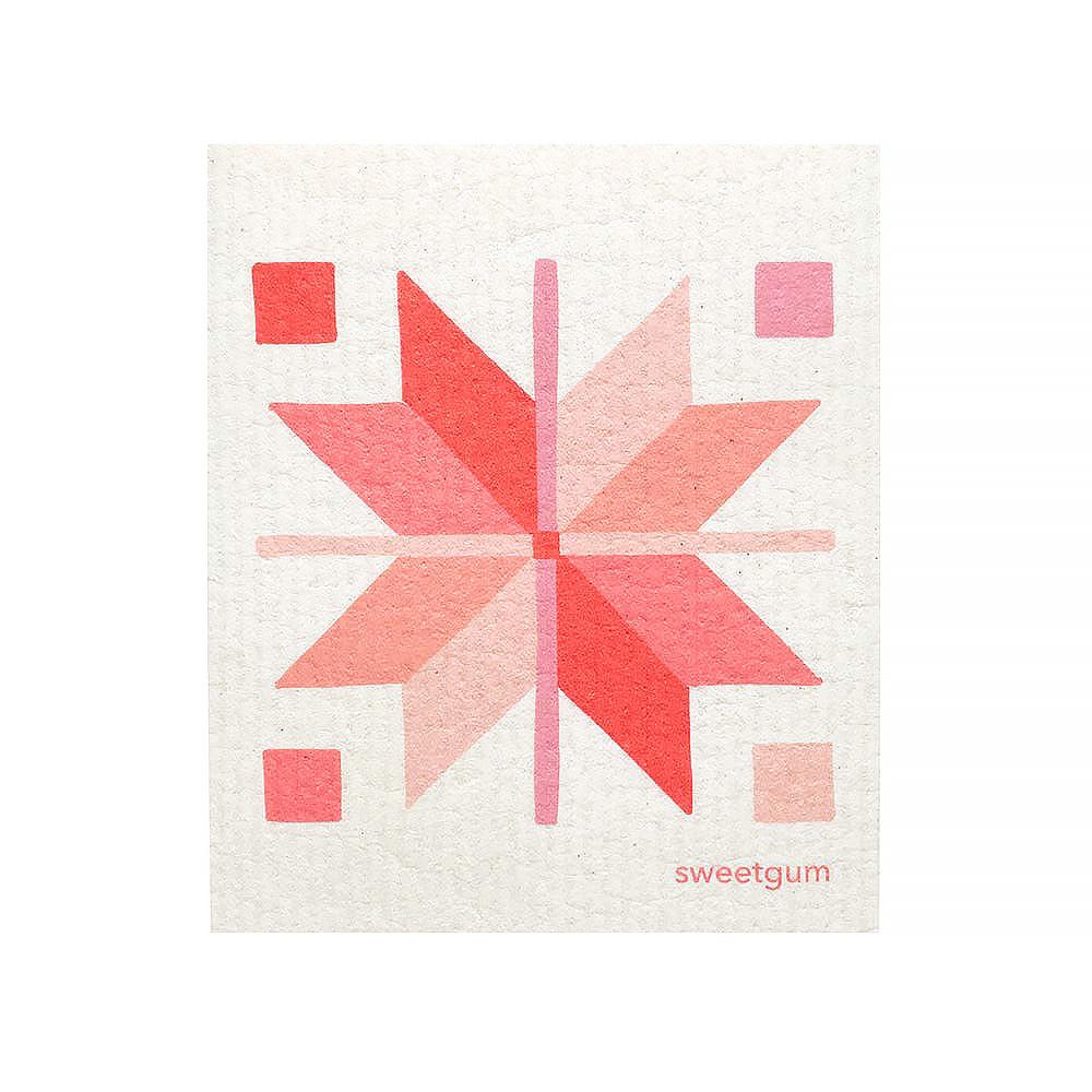 Sweetgum Textiles Dishcloth - Pink Quilt on White