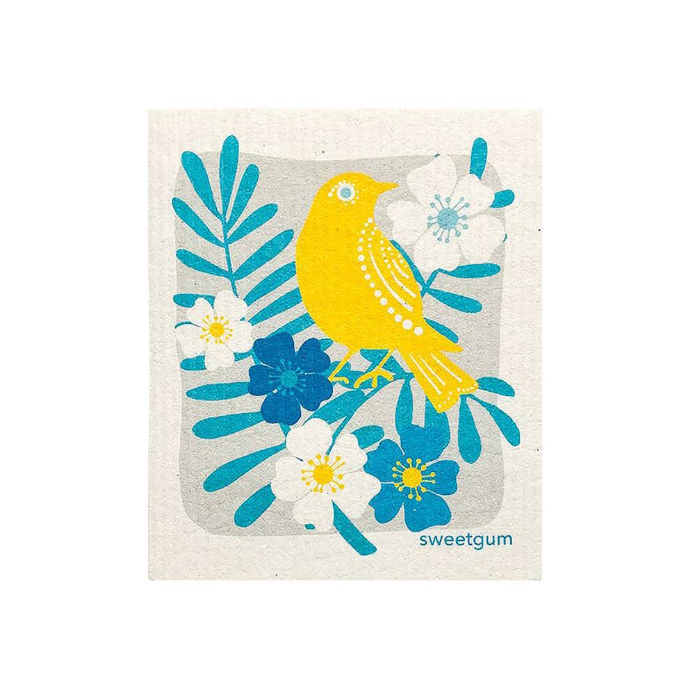 Sweetgum Textiles Dishcloth - Yellow Bird on White