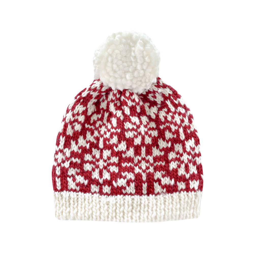 The Blueberry Hill Baby Hat Snowfall Red