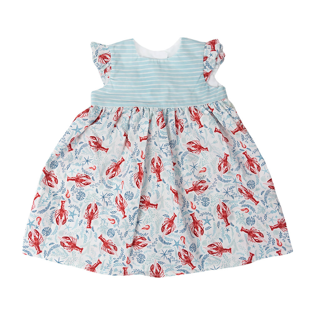 Two Little Beans - Ruffle Dress - Teal Lobster