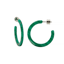 Machete Machete - Mini Hoop Earrings - Malachite