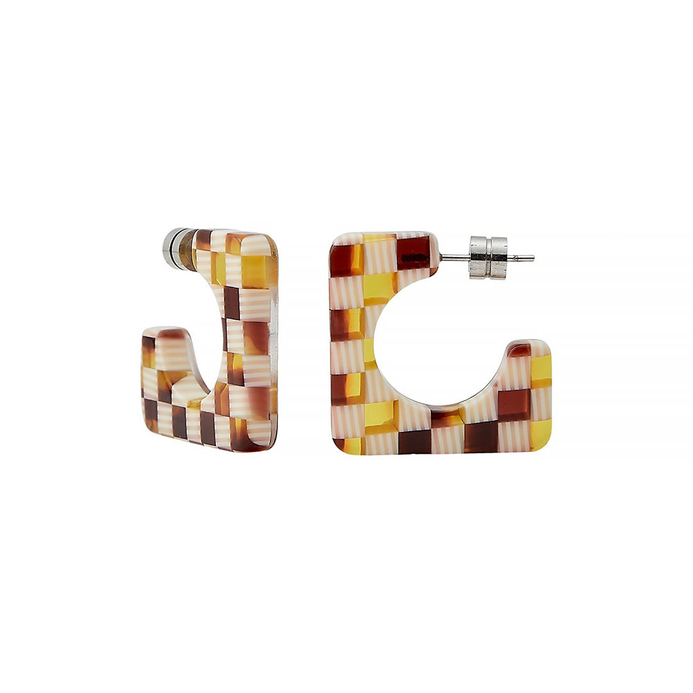 Machete Machete - Atlas Hoop Earrings - Tortoise Checker