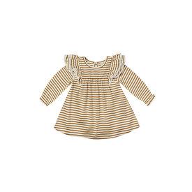 Quincy Mae Quincy Mae Longsleeve Flutter Dress - Walnut Stripe