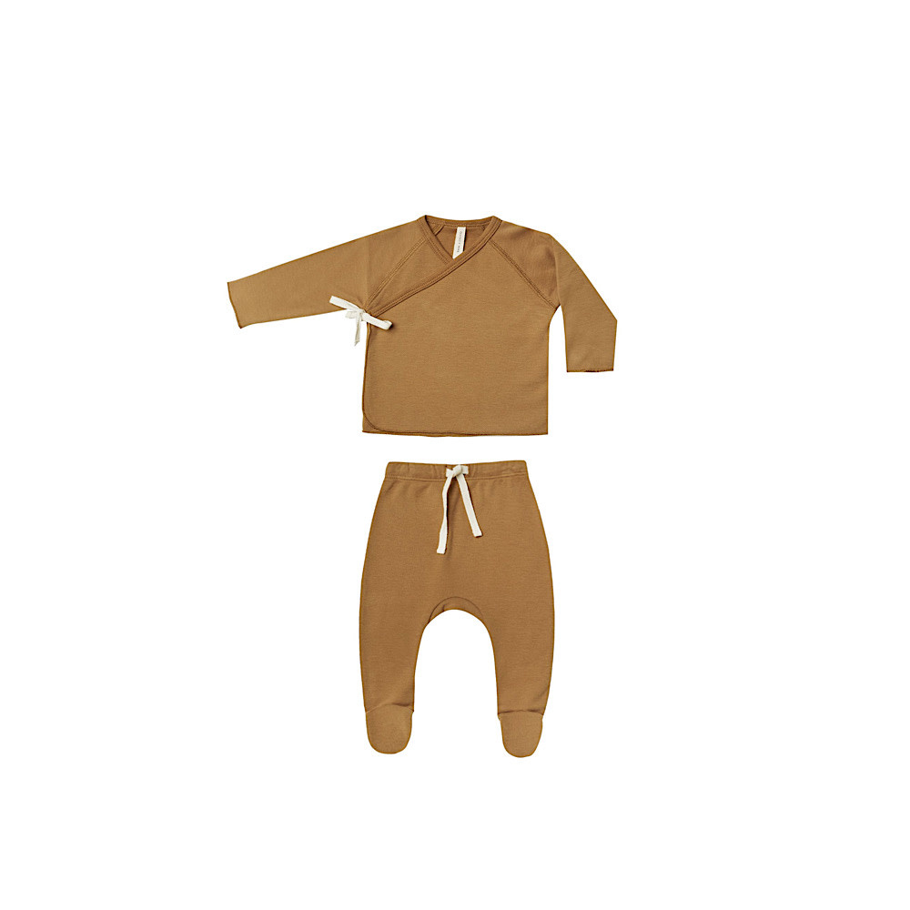Quincy Mae Quincy Mae Wrap Top and Pant Set - Walnut