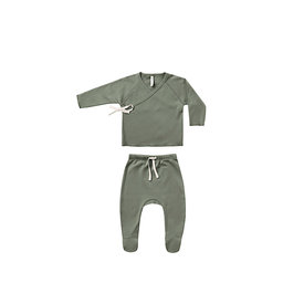 Quincy Mae Quincy Mae Wrap Top and Pant Set - Basil