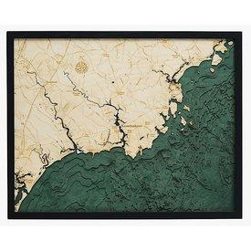 WoodChart Kennebunkport Wood Chart Artwork  - 24.5 x 31 Inches