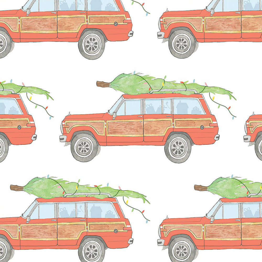 Sara Fitz Wrapping Paper - Tree Topped Wagoneer