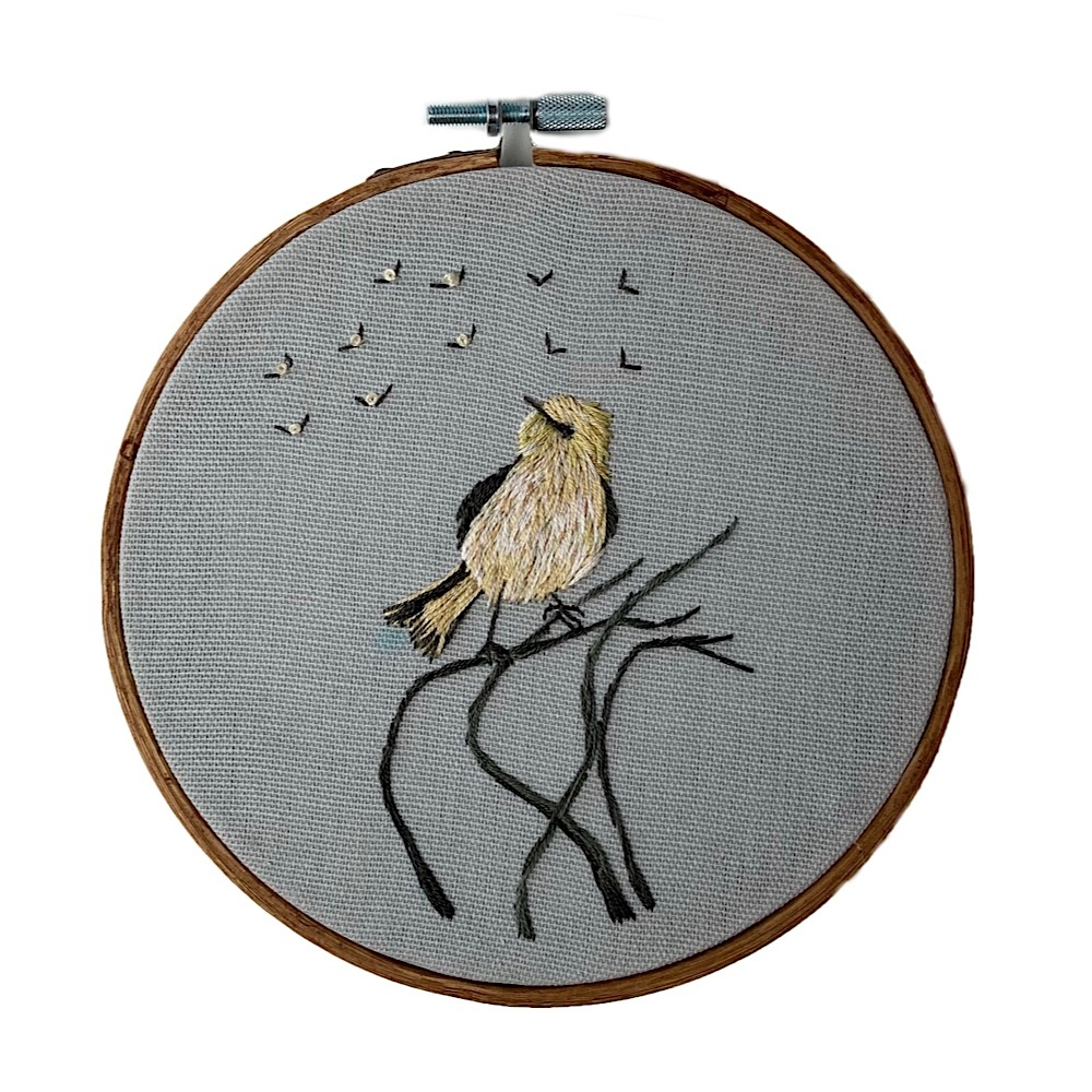 """Stitched On Langsford Embroidered Hoop 5"""" - Bird on a Branch"""