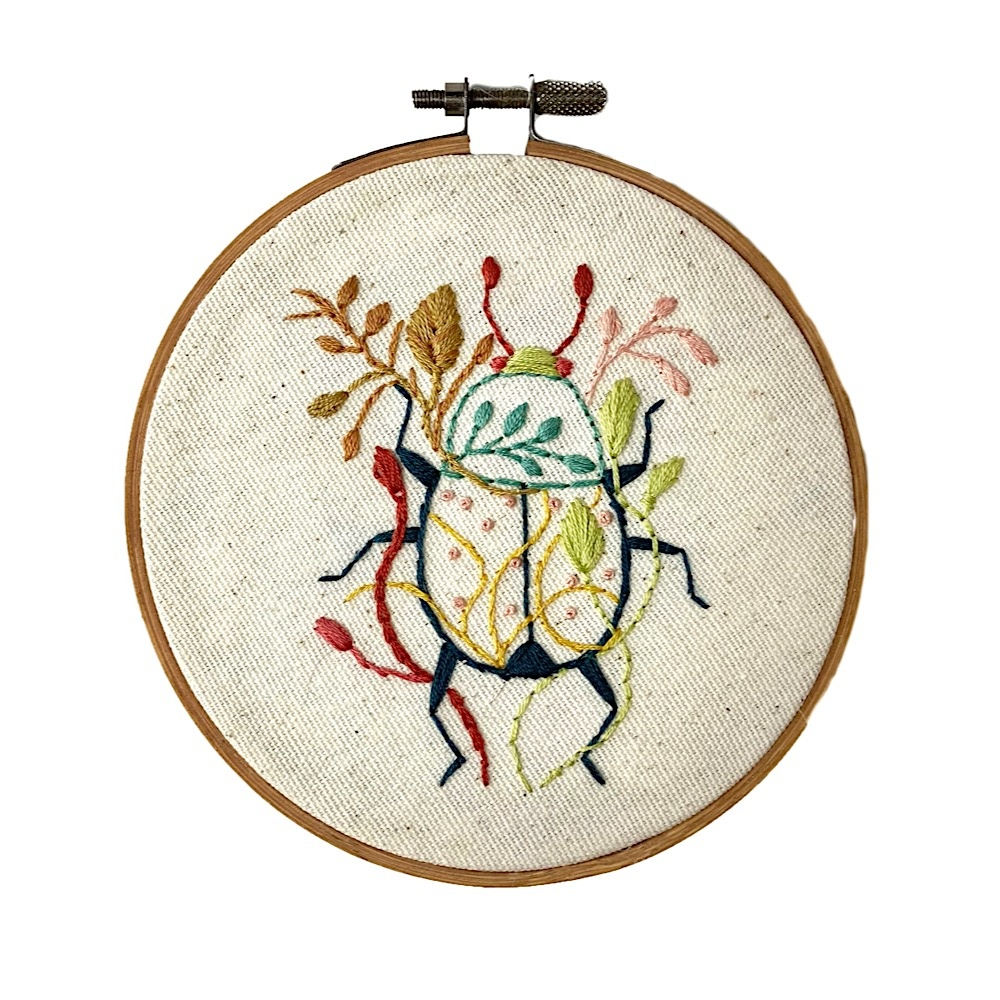 """Stitched On Langsford Embroidered Hoop 5"""" - Color Beetle"""