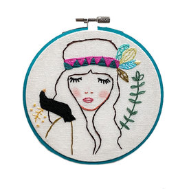 """Stitched On Langsford Embroidered Hoop 5"""" - Josephine"""