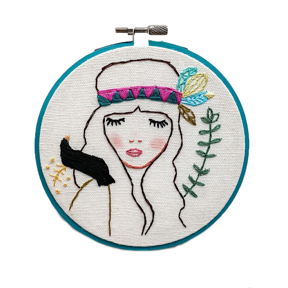 """Embroidered Hoop 5"""" - Josephine"""