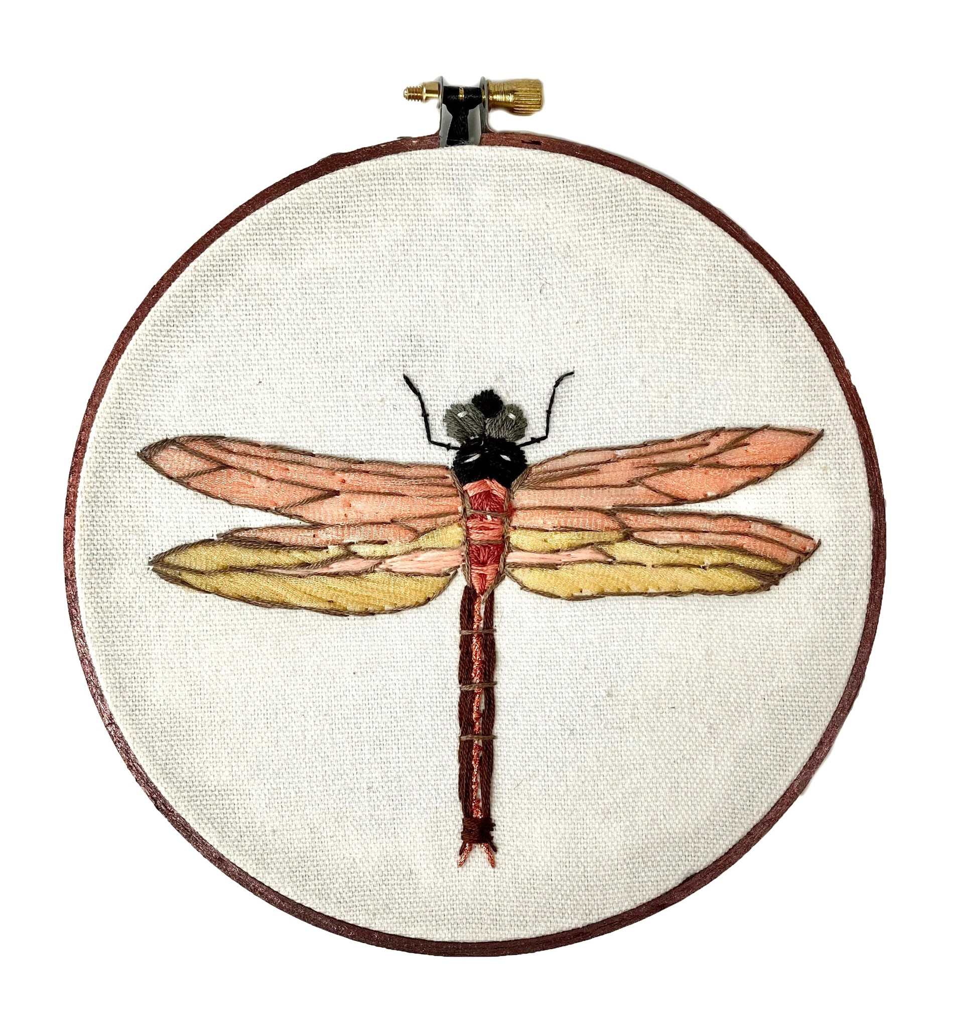 """Embroidered Hoop 6"""" - Dragonfly"""