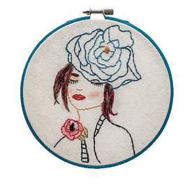 """Stitched On Langsford Embroidered Hoop 6"""" - Iris"""