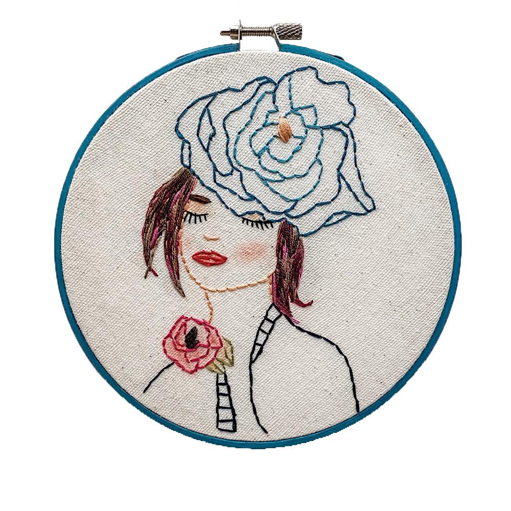 "Embroidered Hoop 6"" - Iris"