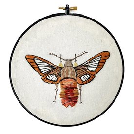 """Stitched On Langsford Embroidered Hoop 7"""" - Hummingbird Moth"""