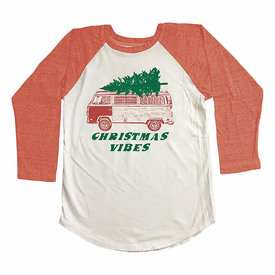 Tiny Whales Tiny Whales Christmas Vibes Raglan - Natural/Tri Red