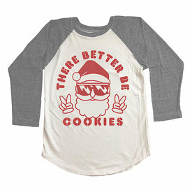 Tiny Whales Tiny Whales Better Be Cookies Raglan - Natural/Tri Gray