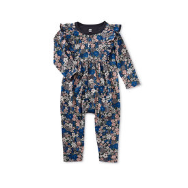 Tea Collection Tea Collection Snap Front Ruffle Romper - Swedish Wildflowers