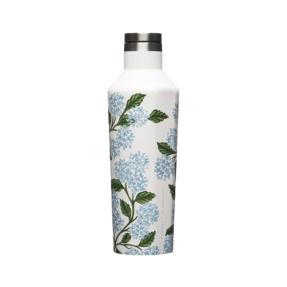 Corkcicle + Rifle Paper Canteen 16oz - Gloss Cream Hydrangea