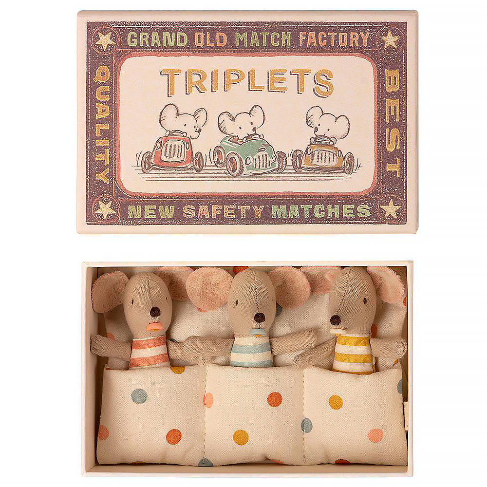 Maileg Mouse - Baby Triplet Mice in Matchbox
