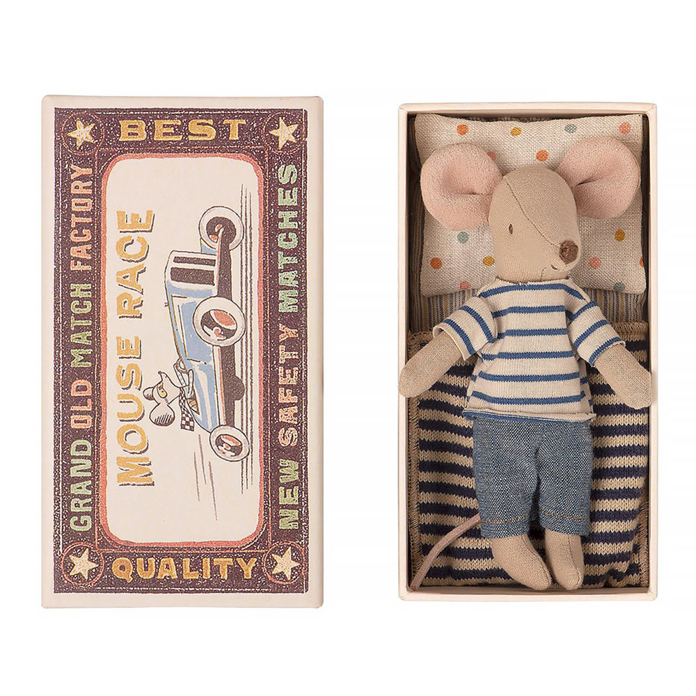 Maileg Maileg Mouse - Big Brother in Matchbox - Striped Shirt