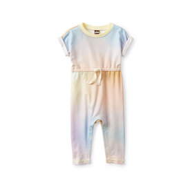 Tea Collection Tea Collection Tie Waist French Terry Romper - Rainbow