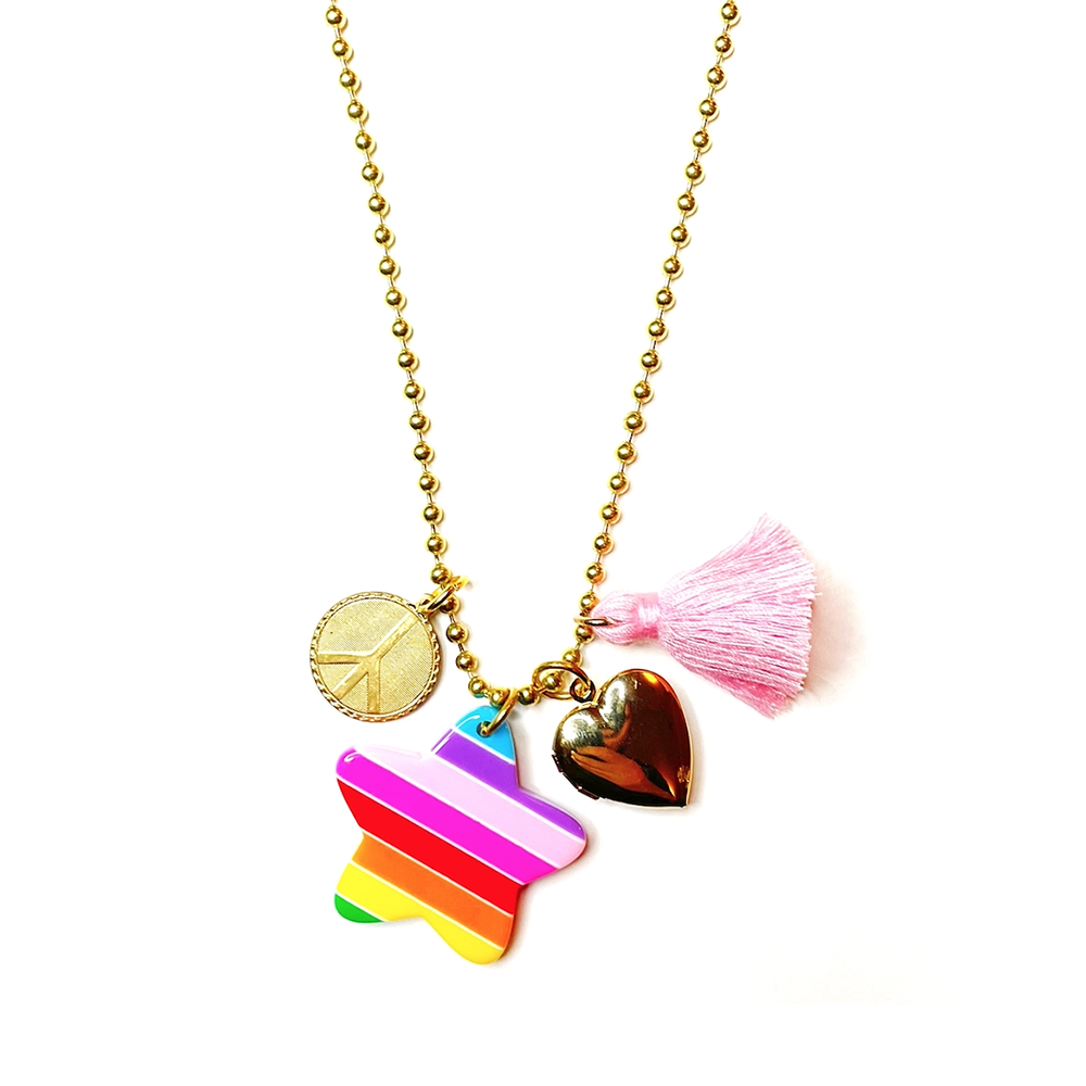 Gunner & Lux Charms Necklace - Love & Peace