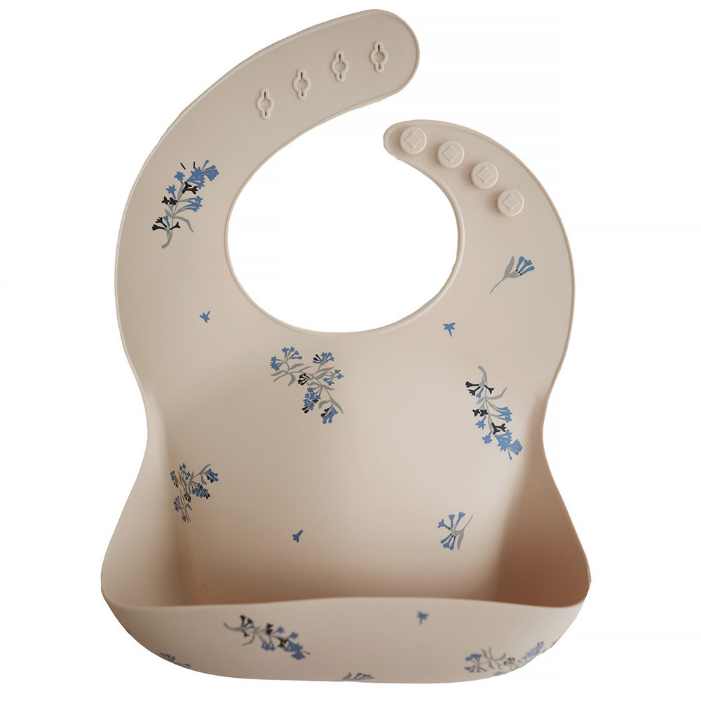 Mushie Mushie Silicone Baby Bib - Lilac Flowers