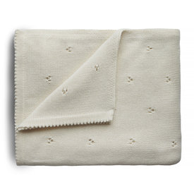 Mushie Mushie Knitted Pointelle Baby Blanket - Ivory