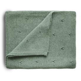 Mushie Mushie Knitted Pointelle Baby Blanket - Sage Melange