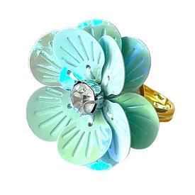Gunner & Lux Gunner & Lux Adjustable Ring - Flower Power Sea Glass