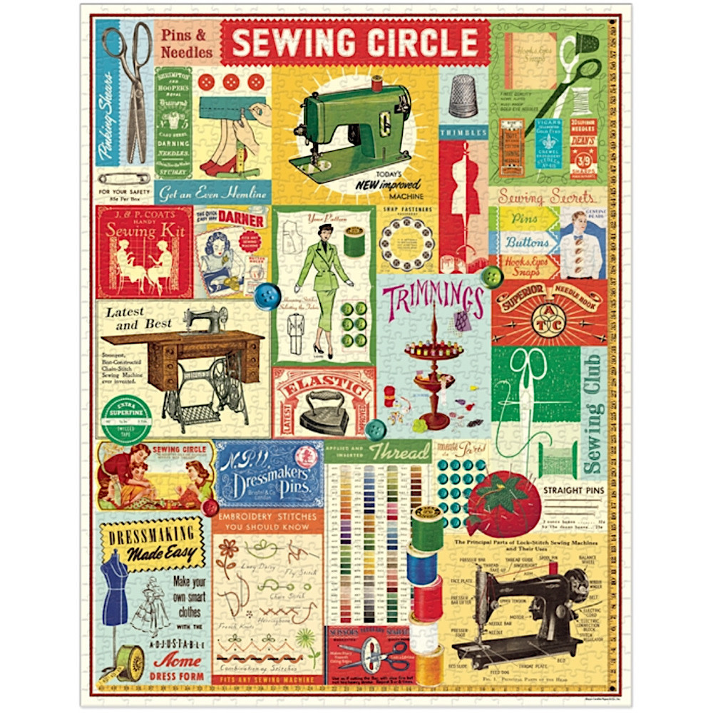 Cavallini Jigsaw Puzzle - Sewing - 1000 Pieces