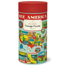 Cavallini Papers & Co., Inc. Cavallini Jigsaw Puzzle - See America - 1000 Pieces