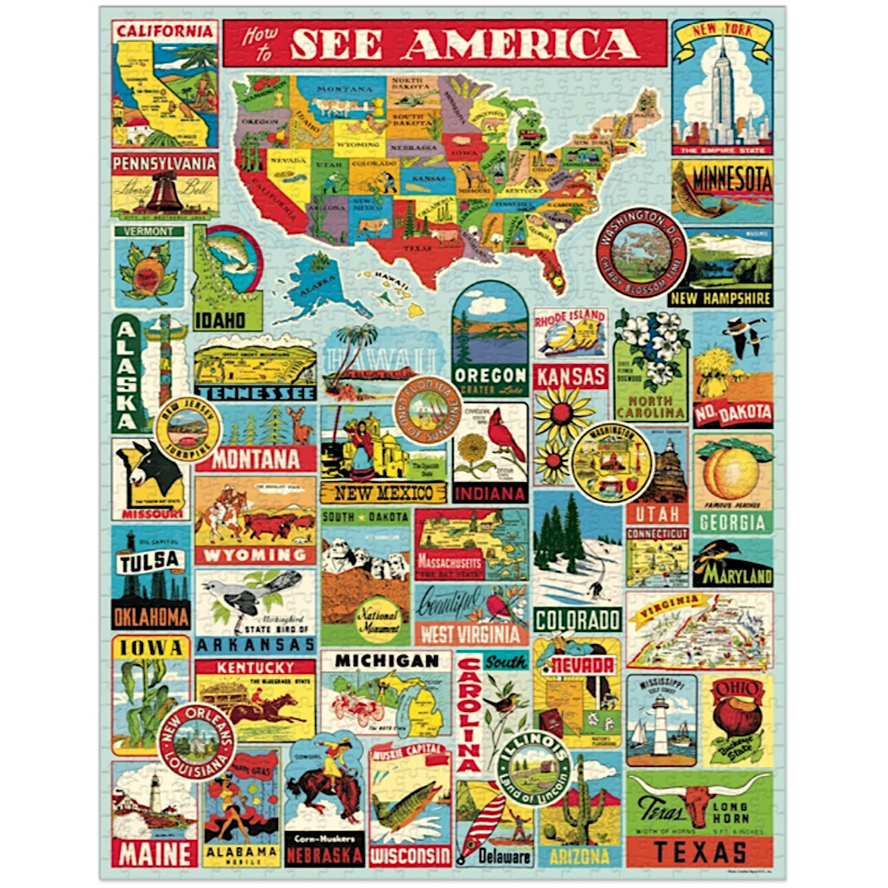 Cavallini Jigsaw Puzzle - See America - 1000 Pieces