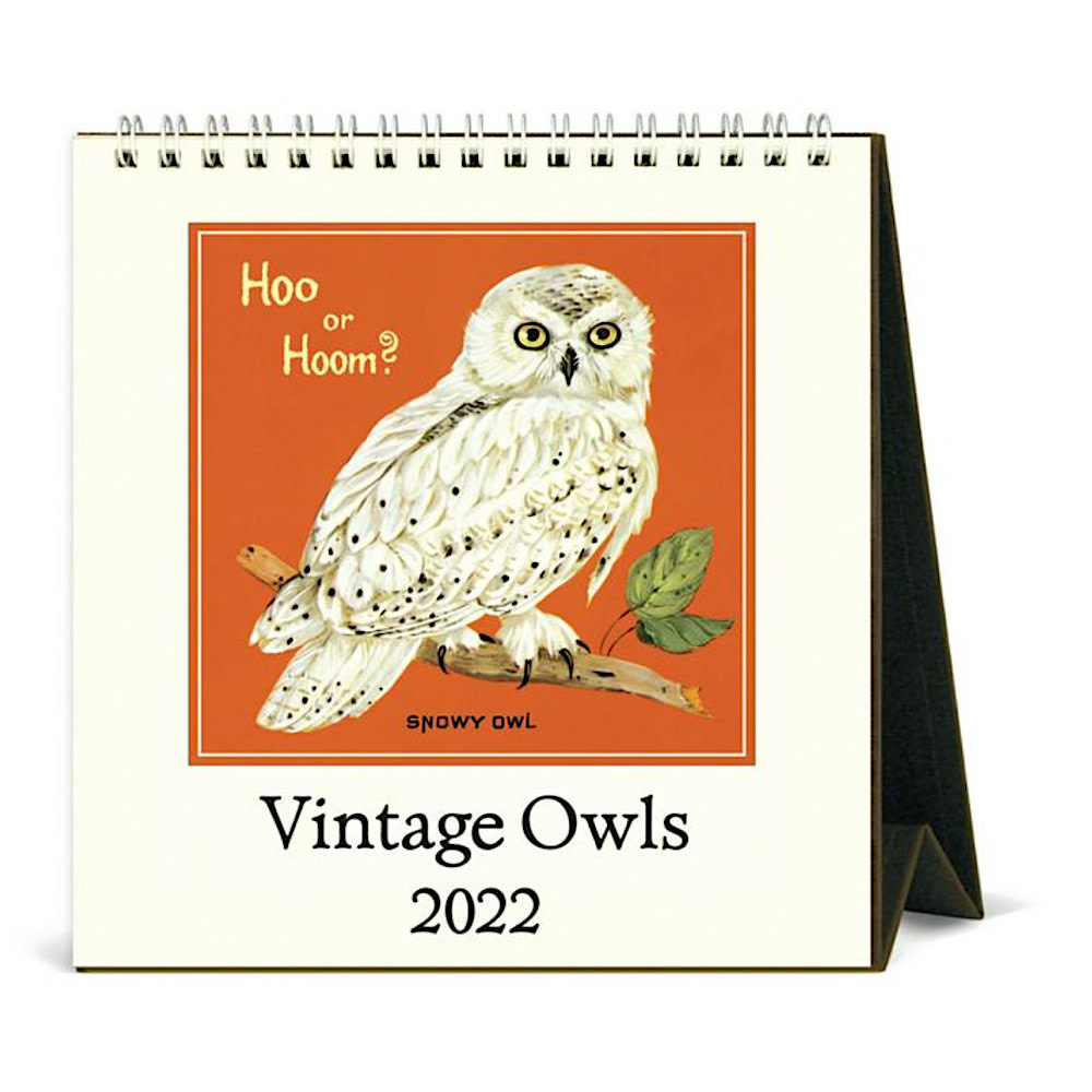 Cavallini Desk Calendar - Vintage Owls 2022