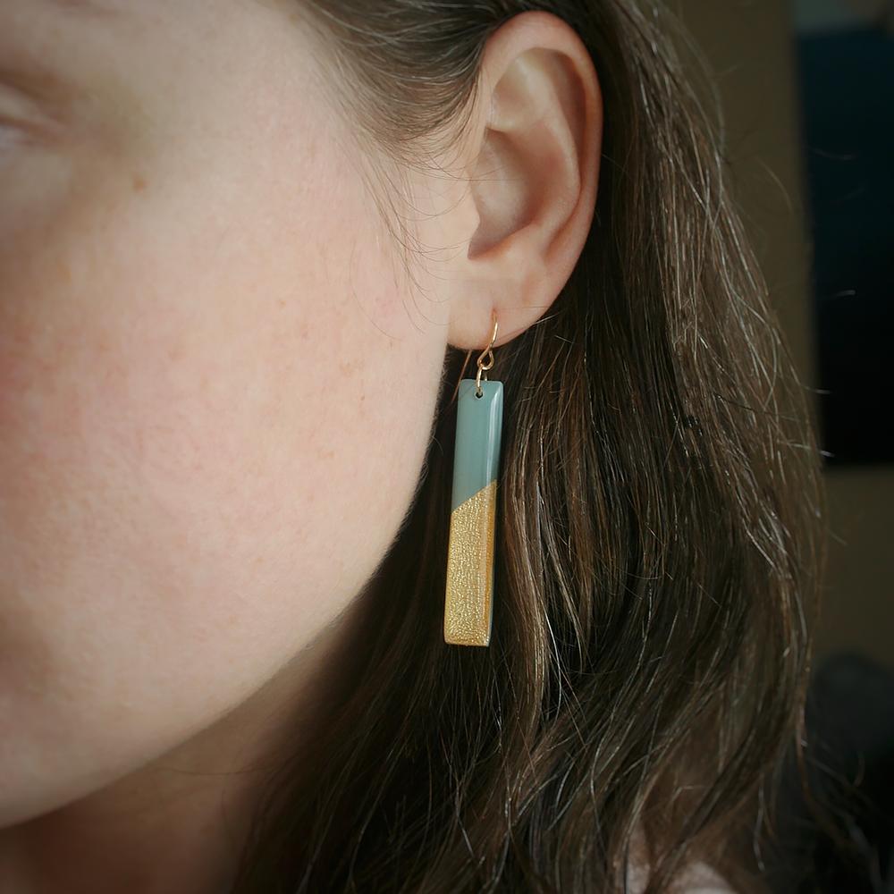 Clay N Wire Gold Bar Earrings - Steel Blue