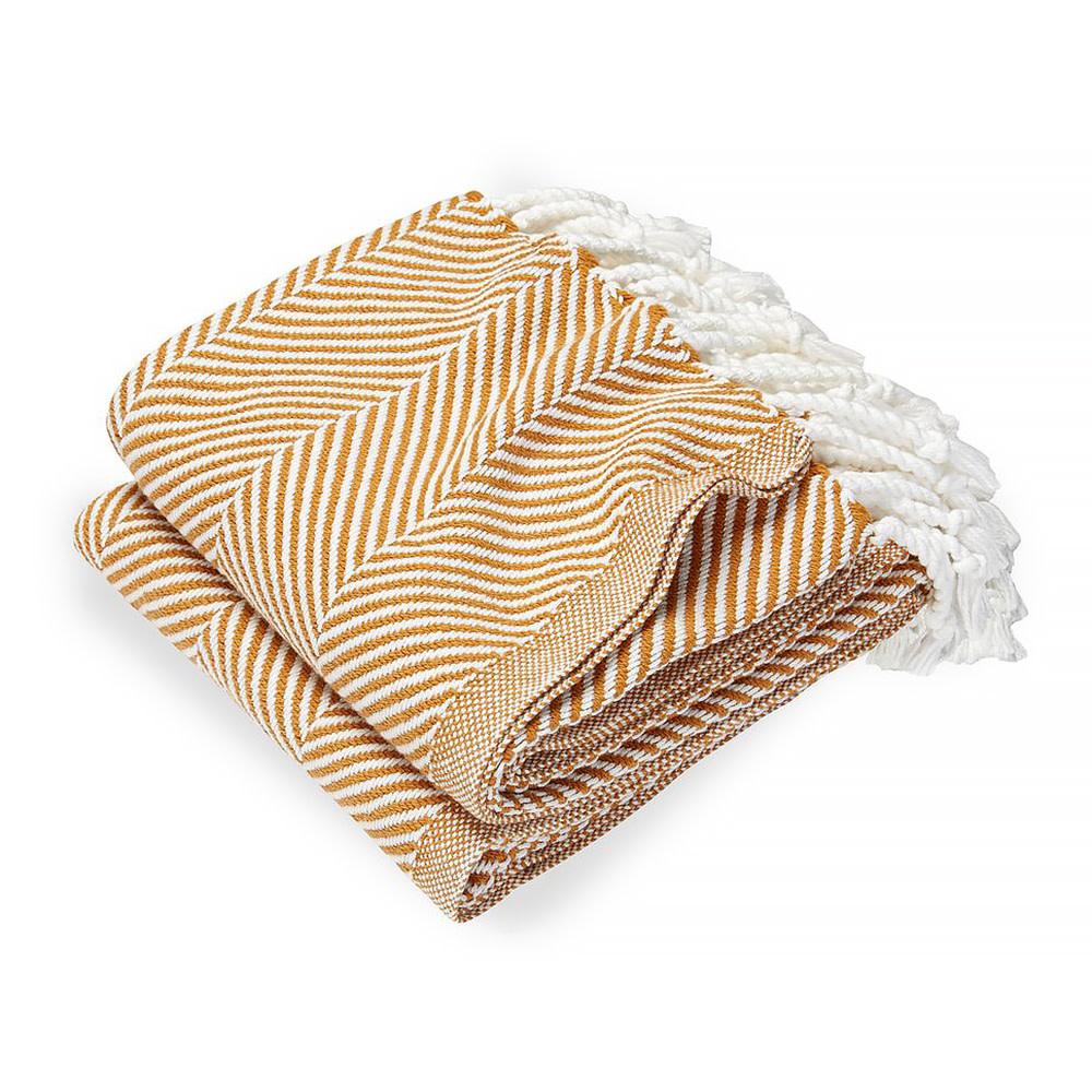 Brahms Mount - Monhegan Cotton Throw  - White & Golden Ochre
