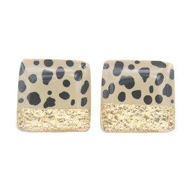 Clay N Wire Clay N Wire Square Stud Earrings - Beige, Black Polka Dot and Gold Split