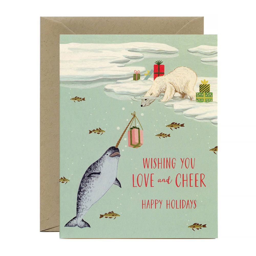 Yeppie Paper Polar Bear & Narwhal Holiday Card